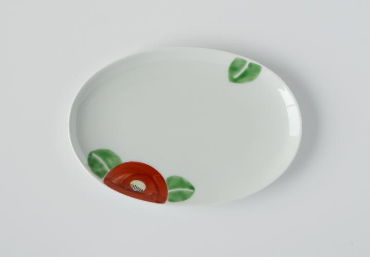 波佐見焼 窯元 陶房青 AO SHOP 吉村陶苑 赤椿 楕円皿