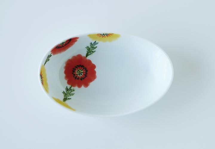 波佐見焼 和食器 うつわ 器 うつわ好き  陶房青 フローラル 楕円鉢 ボウル 鉢